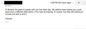 ERste Email an Brook